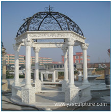 White Marble Gazebo with Iron Roof For Sale